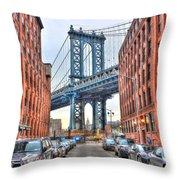 Manhattan Bridge Landscape From Dumbo Throw Pillow