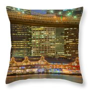 Manhattan Night Skyline I Throw Pillow