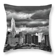 Manhattan Nyc Storm Clouds Cityview Throw Pillow
