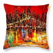Manhattan Red Throw Pillow