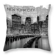 Manhattan Skyline - Graphic Art - White Throw Pillow