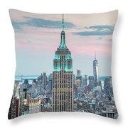 Manhattan Skyline Panoramic, New York City, Usa Throw Pillow