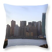 Manhattan Skyline - The View From Gantry Plaza State Park Throw Pillow