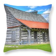 Manistique Schoolcraft County Museum Log Cabin -2158 Throw Pillow