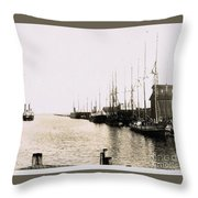 Manitowoc Harbor 1889 Or 1890 Throw Pillow