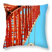 Manitowoc Red Boom Block And Hook Throw Pillow