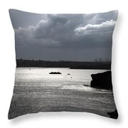 Manly Ferry And Storm Clouds Throw Pillow