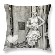 Mannequin On The Street Bw Throw Pillow
