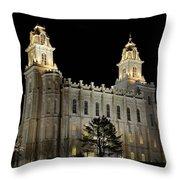 Manti Temple Night Throw Pillow