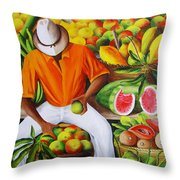 Manuel The Caribbean Fruit Vendor  Throw Pillow
