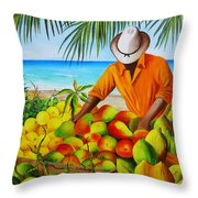 Manuel The Fruit Vendor At The Beach Throw Pillow
