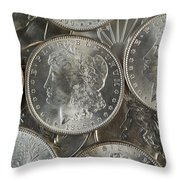 Many American Silver Dollars  Throw Pillow