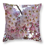 Many Pink Blossoms Throw Pillow