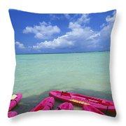 Many Pink Kayaks Throw Pillow