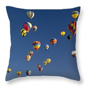 Many Vividly Colored Hot Air Balloons Throw Pillow by Ralph Lee Hopkins