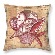 Map And Shells Throw Pillow