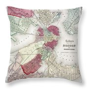 Map: Boston, 1865 Throw Pillow