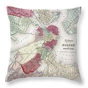 Map: Boston, 1865 Throw Pillow by Granger