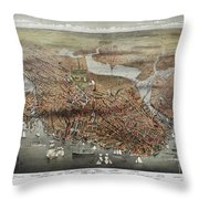 Map: Boston, C1873 Throw Pillow
