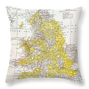 Map: England & Wales Throw Pillow