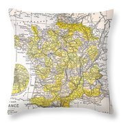 Map: France Throw Pillow