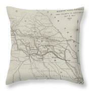 Map Illustrating General Sherman's March Through Georgia  Throw Pillow
