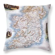 Map: Ireland, 1851 Throw Pillow