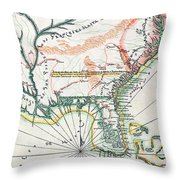 Map: North America, 1742 Throw Pillow