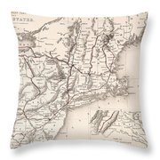 Map: Northeast U.s.a Throw Pillow