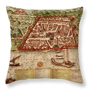 Map Of Algiers 1541 Throw Pillow