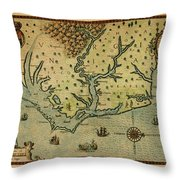 Map Of America 1590 Throw Pillow