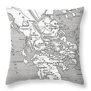 Map Of Ancient Greece Throw Pillow