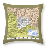 Map Of Andorra Throw Pillow