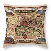 Map Of Antwerp 1675 Throw Pillow