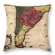 Map Of Argentina 1700 Throw Pillow