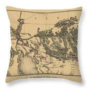 Map Of Arizona 1857 Throw Pillow
