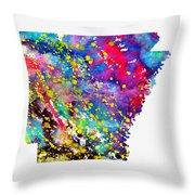Map Of Arkansas-colorful Throw Pillow