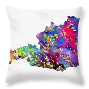Map Of Austria-colorful Throw Pillow