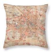 Map Of Berlin 1895 Throw Pillow