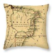 Map Of Brazil 1808 Throw Pillow