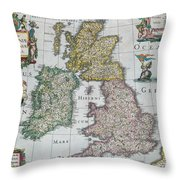 Map Of Britain Throw Pillow