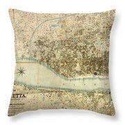 Map Of Calcutta 1857 Throw Pillow