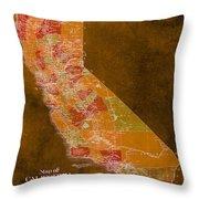 Map Of California, 1898, Orange Background Throw Pillow