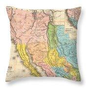 Map Of California New Mexico Texas  1849 Throw Pillow