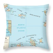 Map Of Cape Verde Throw Pillow