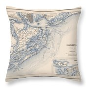Map Of Charleston Throw Pillow