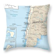 Map Of Chile Throw Pillow