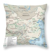 Map Of China 2 Throw Pillow