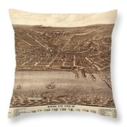 Map Of Cleveland 1877b Throw Pillow