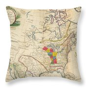 Map Of Colonial North America  Throw Pillow